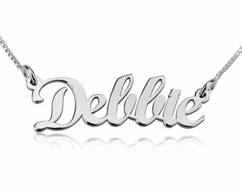 Contemporary Name Necklace Sterling Silver 925 - Custom Name Necklace - Personalized Name Jewelry - Christmas Gift