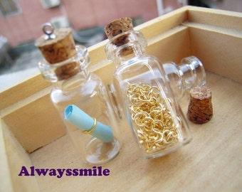 10pcs 35x16mm Clear Glass Tiny Wishing Bottle Vials Pendants With Corks / Free EyeHooK