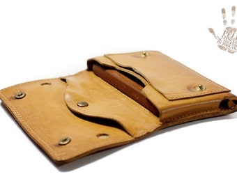iPhone 6 leather wallet Genuine Leather Sleeve for use as a belt pouch banknote and cards col NATURAL
