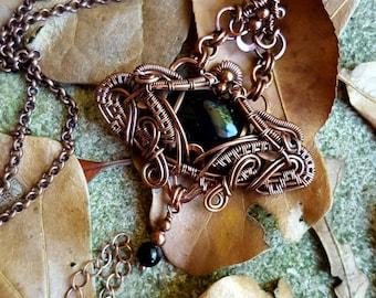 Khepri: black agate antiqued copper wire wrapped pendant necklace