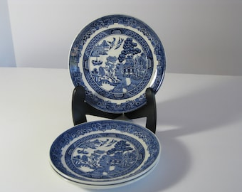 Vintage Blue Willow Earthenware china saucer by Johnson Brothers England