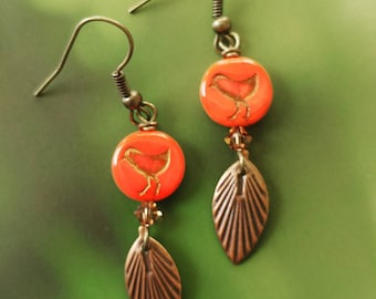 Red Bird Pierced Earrings. Gift For Her