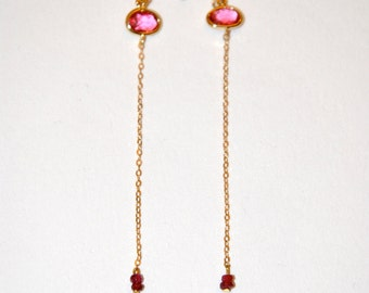 Gold plated long earrings with pink Quartz and micro Ruby
