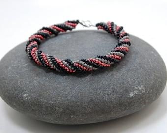 Beaded Bracelet, Twisted Herringbone Bracelet, Bangle, Beadwoven Bracelet, Handmade Jewelry, Girls Night Out/Accessory