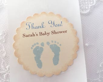Blue Footprint Stickers Baby Boy Shower Stickers Envelope Seals Set of 10
