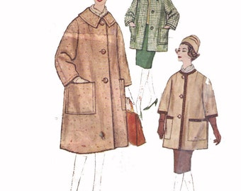 Simplicity 3630, 60s Sewing Pattern, Size 14 Bust 34 Misses' and Women's Coat in Two Lengths