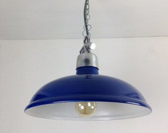 Dark Blue Factory Ceiling Light