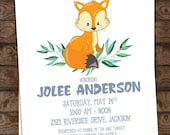 WOODLAND Animal Baby Shower Invitation with Fox Envelopes Included