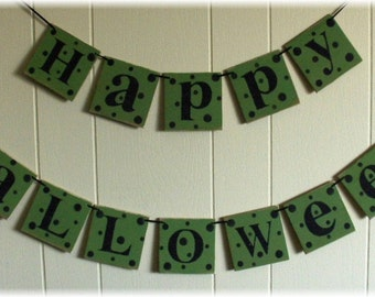 Happy Halloween Banner Garland Bright Green Wood Holiday Decoration 4 x 4 Tiles polka dots