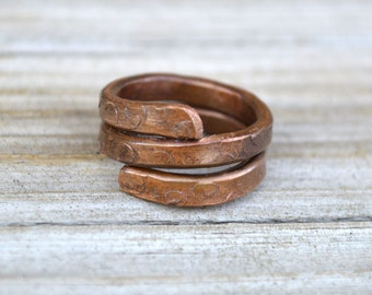 Womens Ring Size 6.5 Artisan Copper Wrap Stack Hand Forged Wire Metal Jewelry