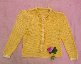Vintage 1930's Yellow Hand Knit Ruffled Sweater, Knitwear 30's Fashion, Women's Button Up
