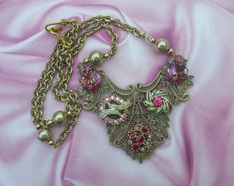 Victorian Charm Assemblage Necklace in Pink