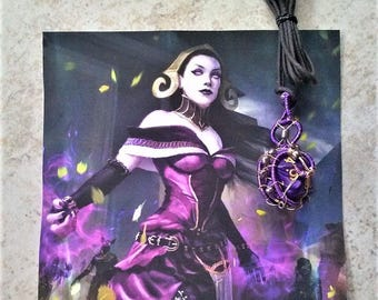 "Handmade Purple and Gold Magic the Gathering Liliana Planeswalker Inspired Wire Wrapped 20-sided ""Icosahedron"" Dice Necklace"