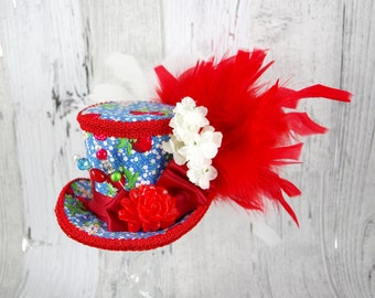 Red, Blue, and White Resin Flower Medium Mini Top Hat Fascinator, Alice in Wonderland, Mad Hatter Tea Party, Derby Hat