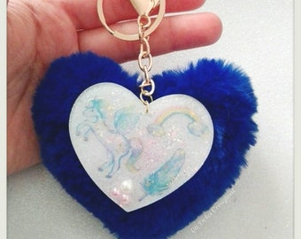 Keyring Heart pom pom blue and heart resin with stickers