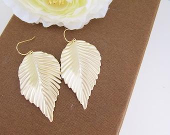 Modern leaves - Matte gold finish big leaf charms Earrings