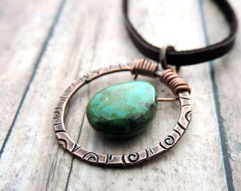Turquoise Green Teardrop Pendant Necklace - Hammered Copper Circle Stamped with Swirl Design - Czech Glass Teardrop - Gift for Her