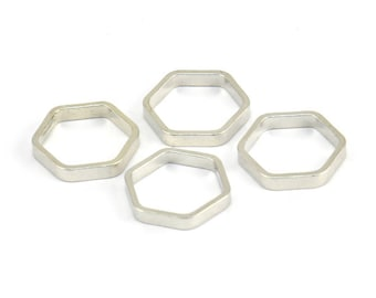 Silver Hexagon Charm, 24 Silver Tone Hexagon Shaped Ring Charms (12x2x0.8mm) BS 2374