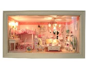 Diy miniature house dollhouse assembly kit pink kitty princess diy dollhouse miniature pink dream dollhouse kit handcraft kit birthday gifts kids women toy assembly dollhouse model kit handmade solutioingenieria Choice Image
