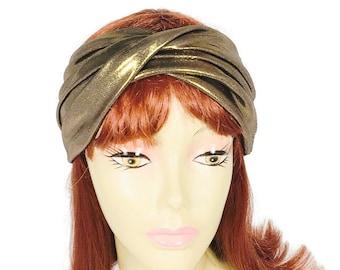Turban Head Wrap Turban Headband Twisted Turban Headband Brass Headwrap Copper Headwrap Elegant Metallic Head Wrap Custom Size/FREE SHIPPING