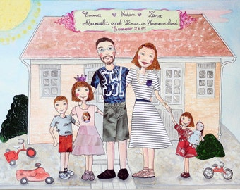 Personalized Family Portrait - Original Mixed Media Painting - Housewarming Gift