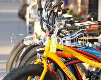 Bike Art Photography,California Sunshine Vacation Photo, Bright Yellow Red Bicycles, Beach Cottage Home Decor, Urban Bike Photo Print, 11x14
