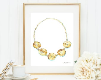Watercolor Necklace Rendering in Yellow Gold printed on Paper