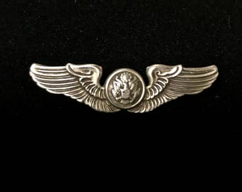 Sterling Silver Military Wings Pin