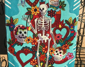 Day of the Dead Don Catrin Calavera Kitchen Towel
