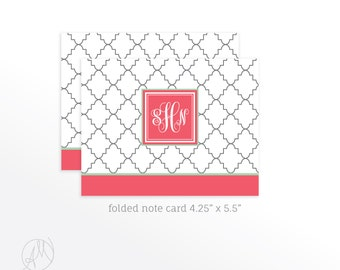 Valentine's Day Gift for Her, Quatrefoil Monogrammed Stationery Set, Folded Note Cards with Initial, Personalized Thank You Notecard Set