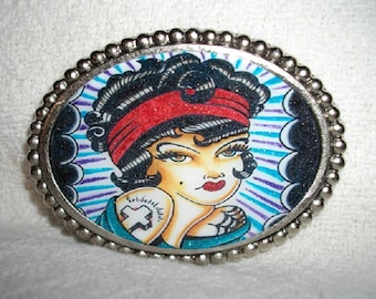 Old School Tattoo Girl Belt Buckle