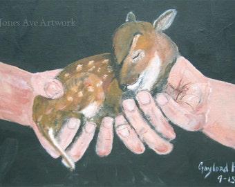 Original wildlife, acrylic painting, Deer In Hands, 11x14, art on canvas, art for sale