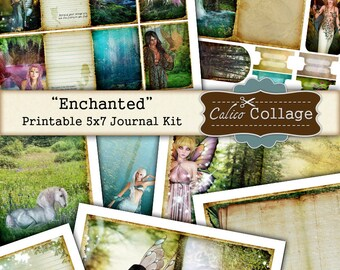 Enchanted Printable Journal Kit, Digital Collage Sheet, Fantasy Journal, Fairy Journal Kit, Mermaid Printable, Journal Paper, CalicoCollage