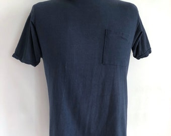 Vintage Men's 80's T Shirt, Navy Blue, Short Sleeve by Sears (M)