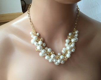 Gold and Ivory cluster Pearl necklace- bridesmaid jewelry - statement necklace- bib necklace- ivory pearl necklace-rhinestone necklace