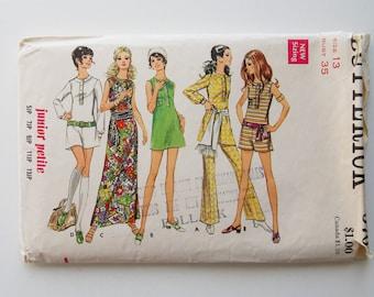 Vintage dress, pantdress and pants pattern, Butterick 5707 sewing pattern, size 13, 70's fashion, sewing supplies, size 13 pantdress.