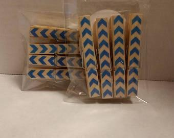 Dark blue chevron  clothespin magnets