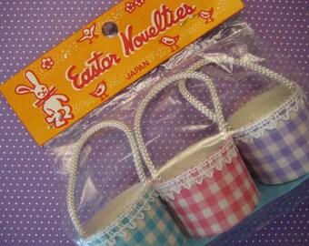 Vintage Easter Nut Cups / Gingham Nut Cups / Bridal Shower / Baby Shower / Birthday / Easter Brunch / Pastel / Japan / Lot