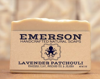 100% Natural Lavender Patchouli Soap with Rhassoul Clay  •  Vegan Soap, Palm Free Soap, All Natural Soap, Zero Waste, Waste Free