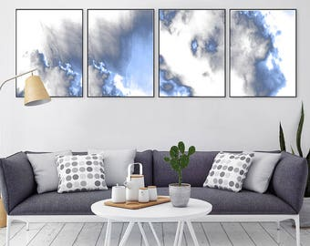 Abstract Art Blue And White Set Of 4 Prints Digital Download Abstract  Landscape Modern Art Blue