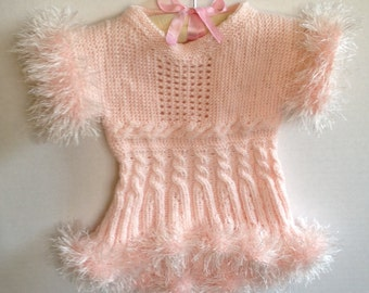 Hand knitted blush pink furry tunic sweater, girl 1-2 years old
