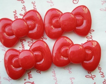 SALE Cute Round Chunky bow cabochons 4pcs RED  ME