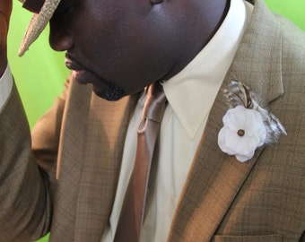 "Men's Lapel Pin with White Floral and cream and brown feather detail ""Gabriel"""