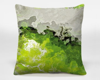 Abstract art pillow cover, 16x16 and 18x18 lime green and white decorative pillow cover, throw pillow cover, accent pillow, Lime Light