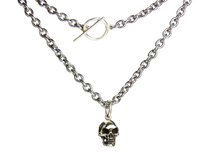 Silver Skull Necklace Solid Sterling Mens Skull Pendant Long Steel Chain Necklace Goth Skull Pendant Memento Mori Pendant Rocker Necklace