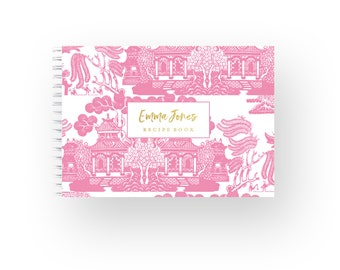 Personalized Recipe Book Blank Recipe Book Recipe Cards Monogram Recipe Book Gift for Her Bridal Shower Gift for Cook Chinoiserie Pink