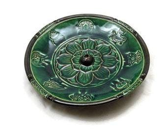 Incense Burner Lotus Handmade Ceramic Pottery Jade
