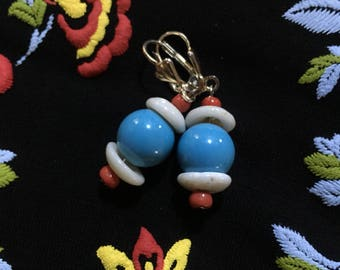 Puka Shell Turquoise Pearl Coral Glass Pony Beads Earrings