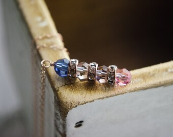 Rose Gold Necklace | Personalized  Stacked Pendant Jewelry | Family Crystal Birthstone Necklace