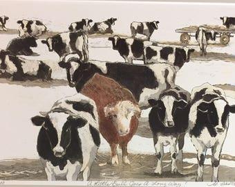 A Little  Bull Goes A Long Way, cows in art,Farm scene, Animal  prints